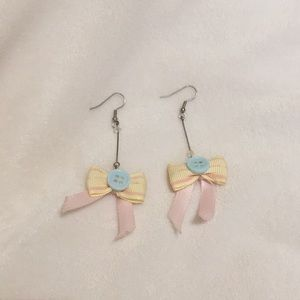 Handmade earrings pink ribbon buttons pastel
